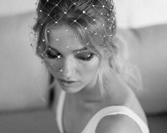 STAR GAZER | Silver birdcage veil with crystals