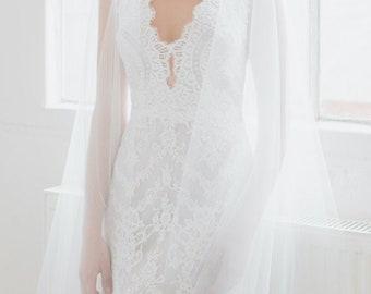 ROSELLA | chapel wedding veil with blusher, long bridal veil, ivory wedding veils