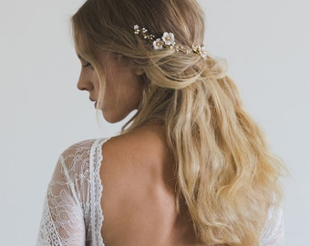 POETIC | floral bridal hair vine, boho bridal headpiece, floral wedding hair piece