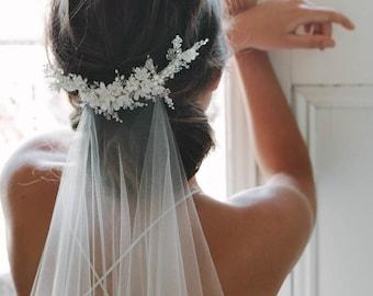 MARION   delicate floral bridal comb, ivory wedding headpiece, delicate bridal headpiece