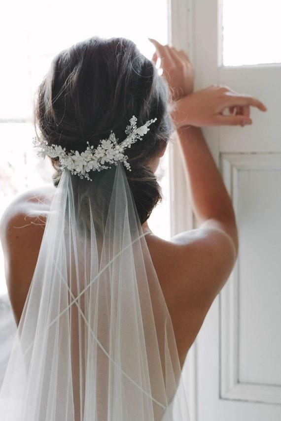 Wedding veil head pieces Rosella Ivory pearl floral wedding hair accessories-Floral bridal head piece-Bridesmaid headpieces-Hair jewelry