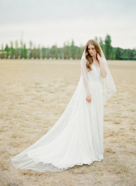 DAHLIA chapel length bridal veil long wedding veil ivory   Etsy