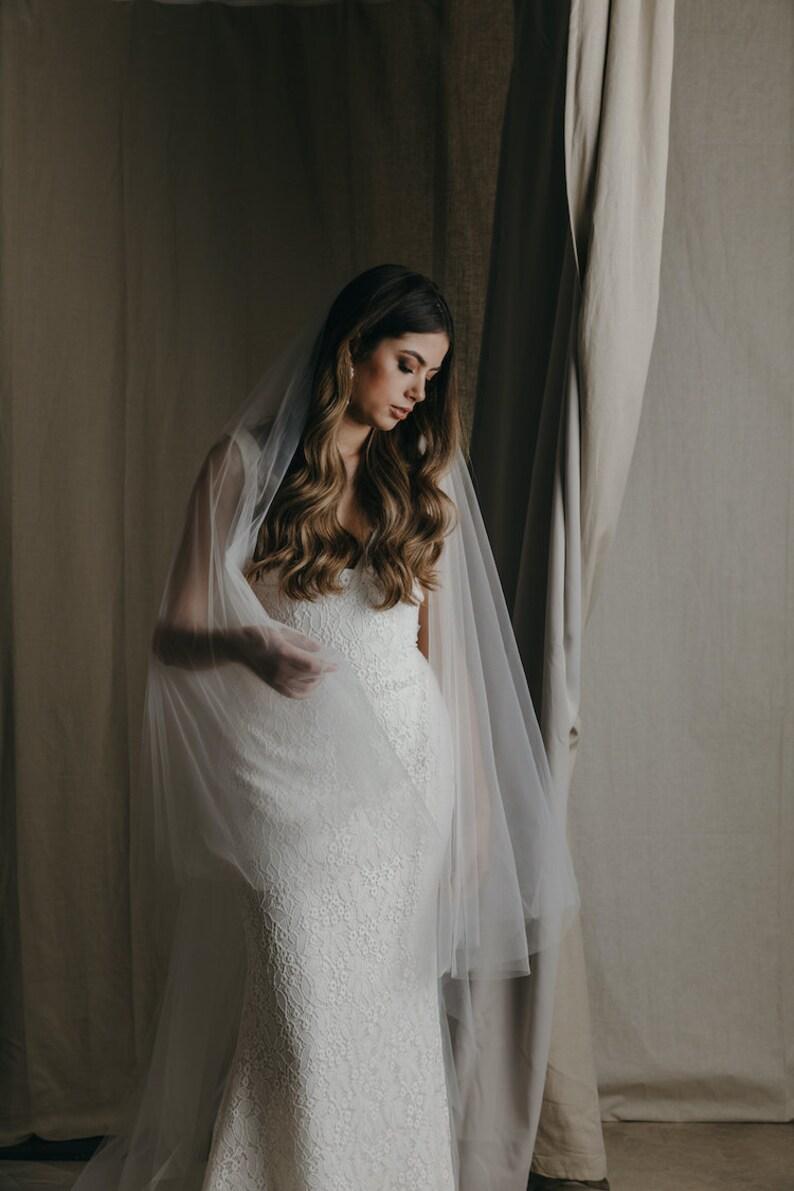 CAMILLE  Fine tulle wedding veil off white wedding veil image 0