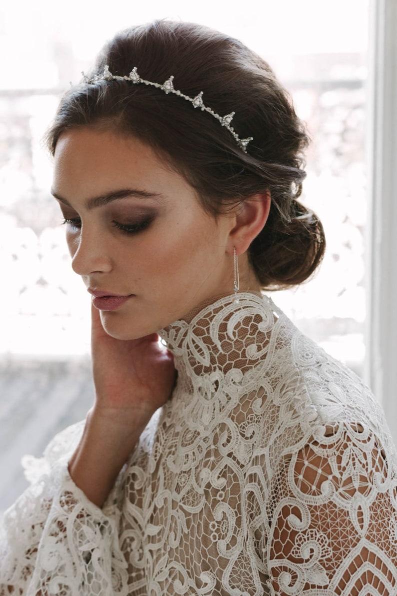 HENRI  modern bridal crown wedding crown for boho weddings Silver