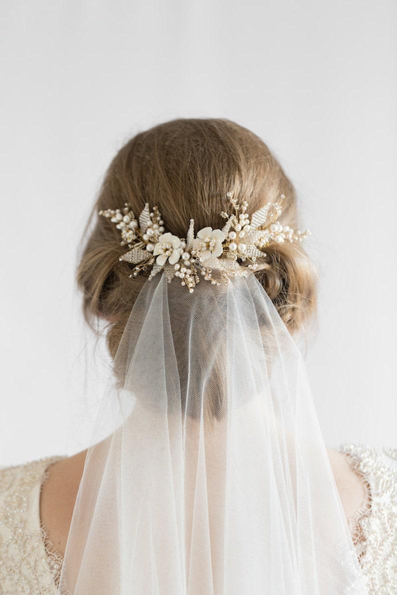 JASMINE  floral wedding hair comb delicate bridal headpiece image 0