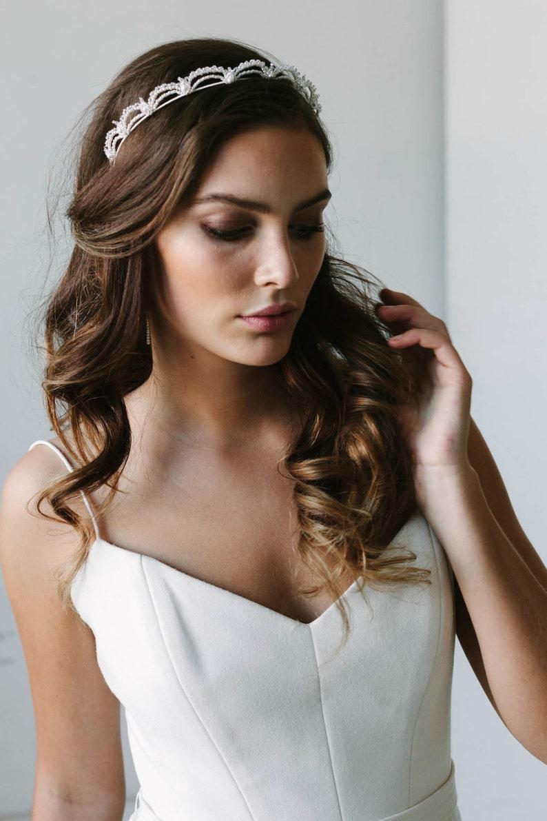 LAUDER  delicate pearl headband Art Deco bridal crown image 0