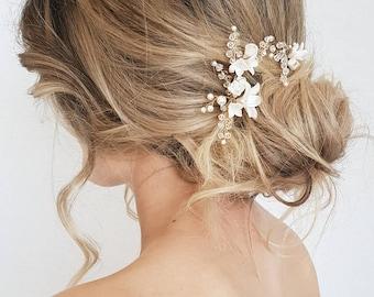 BRIAR-ROSE   pearl bridal hair pins, delicate wedding hair pins, ivory hair pins with flowers