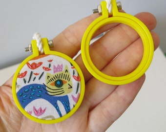 Mini Embroidery Hoop 40mm, YELLOW Hoop, Miniature Hoop For Necklace, Display and Embroidery 3d Printed Free Shipping Australia