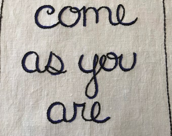 Come As You Are, Nirvana, Embroidery art, Tapestry, Hand embroidery, Kurt Cobain, Wall art, Tribute