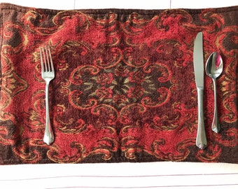 Tapestry Placemats, Set of 2, Bohemian Placemats, Harvest Dining, Autumn table, Thanksgiving, Dinner Table decor, Red Placemats