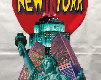 4 Jumbo NYC Post Cards, Unused Vintage Post Cards, 1990s New York City, Travel Souvenir, The Big Apple, Kitsch