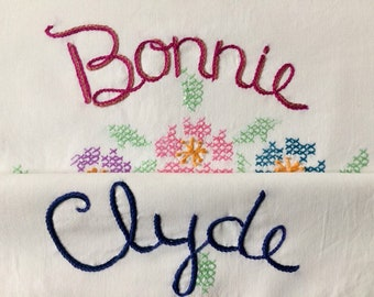 Bonnie and Clyde, Pillowcases, Hand embroidered, Girlfriend gift, Couples gift, Boho Bedroom