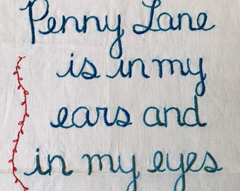 Penny Lane, Tapestry, Hand Embroidery, Beatles art, Textile art, Embroidery art, Bohemian, Wall Hanging, Wall art, Beatles