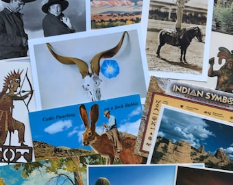 Wild West, 16 Unused Post Cards, Instant Collection, Collectible, Cowboy, Cowgirl, Native American, Landscape art, Ranch