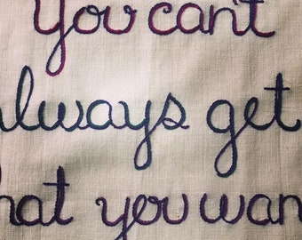 You Can't Always Get What You Want, Rolling Stones, Tapestry, Rock n Roll, Art Gift, OOAK, Bespoke Embroidery, Stones Gift
