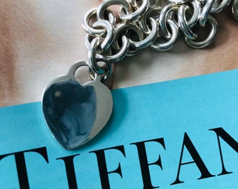 Tiffany & Co. Silver Chain Necklace, Silver Necklace, Love Gift, Heart Necklace, Chunky Silver Chain