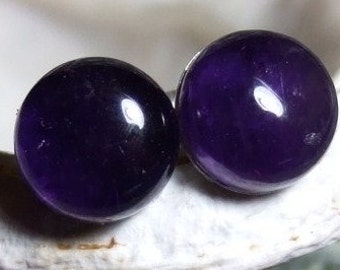 Deep Purple 8mm Round Natural Amethyst Stud Type Earrings Earings Titanium Hypo Allergenic Handmade in Newfoundland Rich