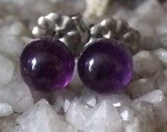 Longer Post Deep Purple 6mm Round  Amethyst Stud Type Earrings Earings Titanium Hypo Allergenic Handmade in Newfoundland