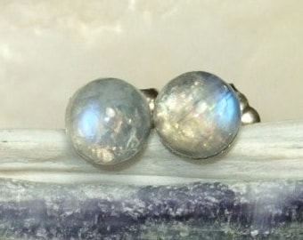 Rainbow Moonstone Blue Tint 5mm Stud Earrings Earings Titanium Post and Clutch Hypo Allergenic Handmade in Newfoundland Icy Cool