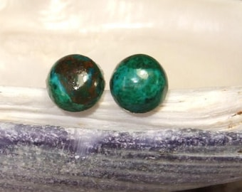 Chrysocolla 6mm Round Stud Earrings Earings Natural Blue Green Handcrafted