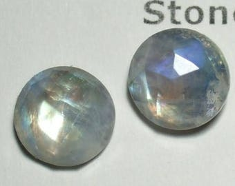Rainbow Moonstone Blue Tint 10mm Faceted Stud Earrings Earings Titanium Post and Clutch Hypo Allergenic Handmade in Newfoundland Icy Cool