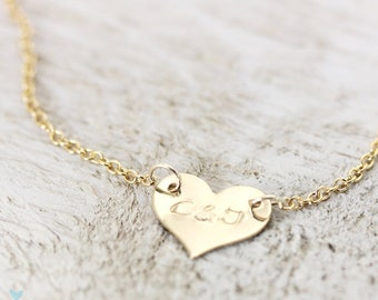 Delicate Personalized Heart Necklace, Gold Fill or Sterling Silver, Initial Necklace, Hand Stamped Custom Personalized, Christina Guenther