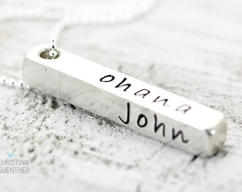 4 Sides for Love Bar Pendant, Personalize Names, Words, Four Sided Pendant, Custom Design, Gift for Her, Christina Guenther