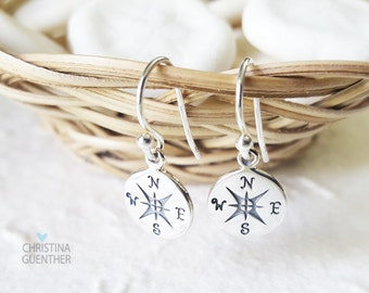 Compass Earrings - Wanderlust - Sterling Silver Earrings - Personalized Hand Stamped Jewelry - Christina Guenther
