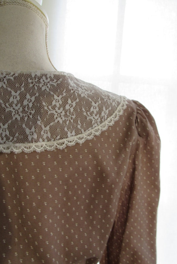 70s Prairie Dress/ Size Small Extra Small/ Lace C… - image 10