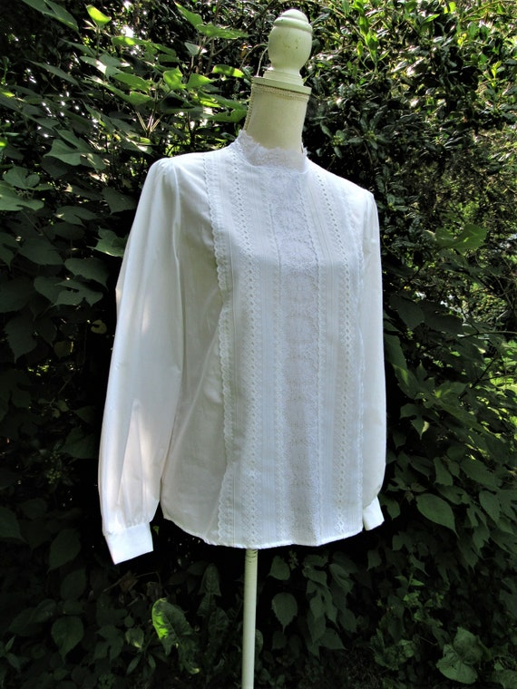 70s 80s Victorian Blouse/ Lace Front Blouse/ High… - image 3