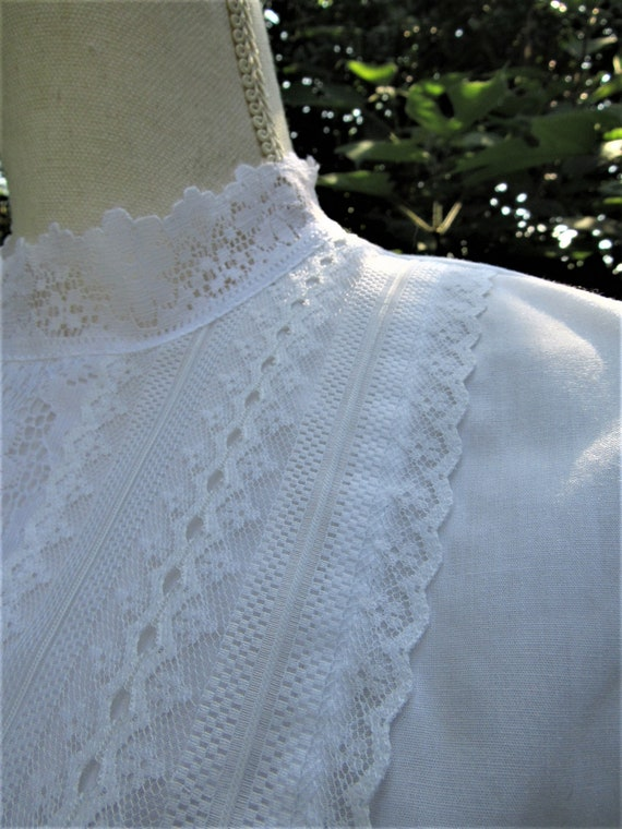 70s 80s Victorian Blouse/ Lace Front Blouse/ High… - image 5