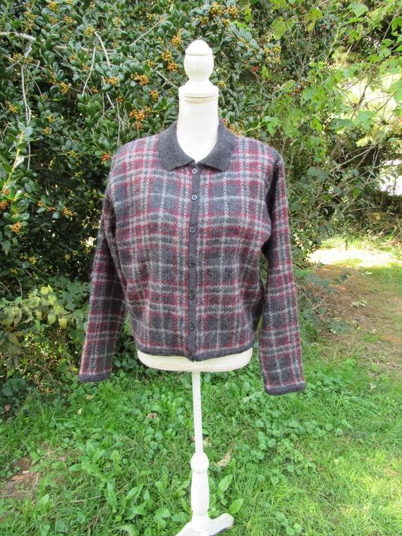 Fuzzy Mohair Sweater/ Cardigan/ Paul Harris/ 80s 9