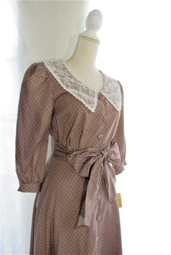 70s Prairie Dress/ Size Small Extra Small/ Lace C… - image 7