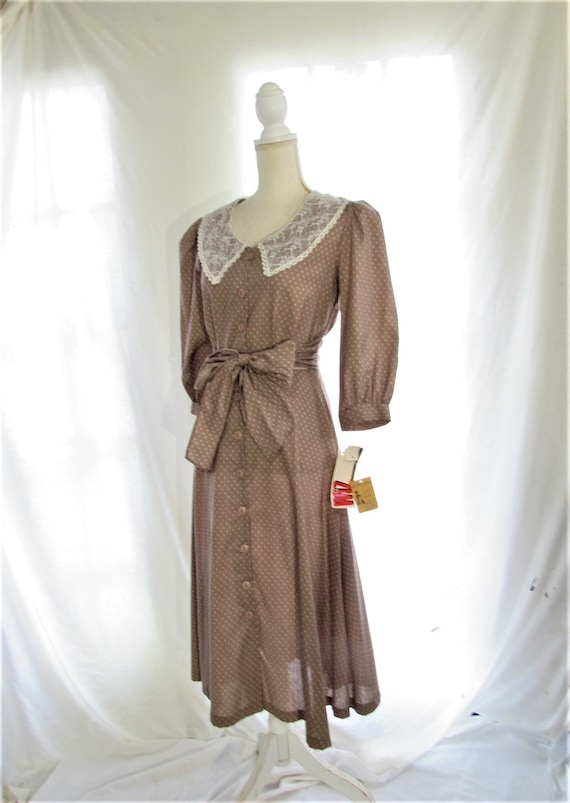 70s Prairie Dress/ Size Small Extra Small/ Lace C… - image 6