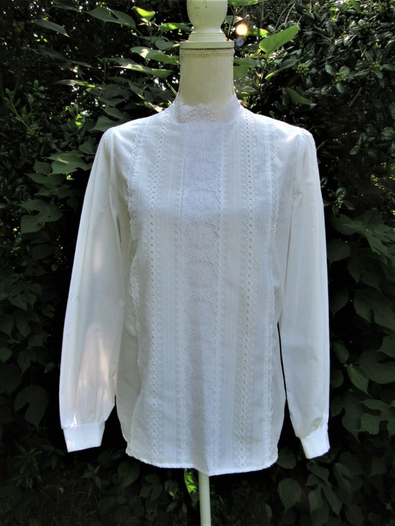 70s 80s Victorian Blouse/ Lace Front Blouse/ High… - image 10