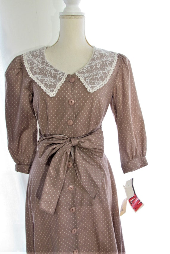 70s Prairie Dress/ Size Small Extra Small/ Lace C… - image 3
