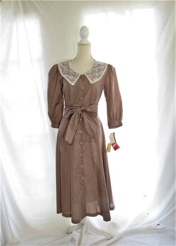 70s Prairie Dress/ Size Small Extra Small/ Lace C… - image 2