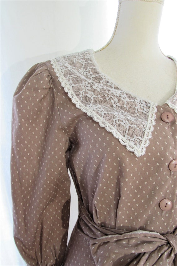 70s Prairie Dress/ Size Small Extra Small/ Lace C… - image 4