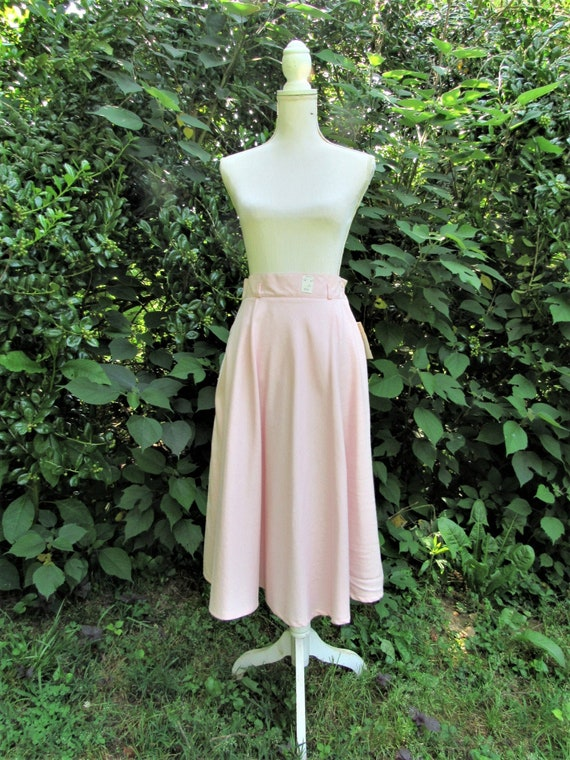 80s Peach Cotton Skirt/ Full Skirt/ Riding Skirt/