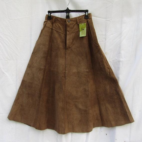 80s Suede Skirt/ size Small Medium/ Lizwear/ Deads