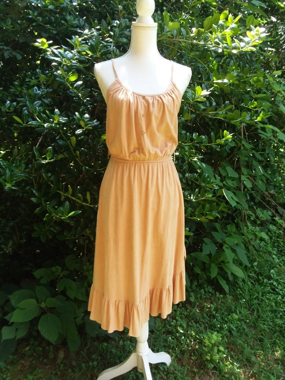 70s Faux Suede Sundress/ Size Small Extra Small/ J