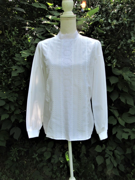 70s 80s Victorian Blouse/ Lace Front Blouse/ High… - image 1