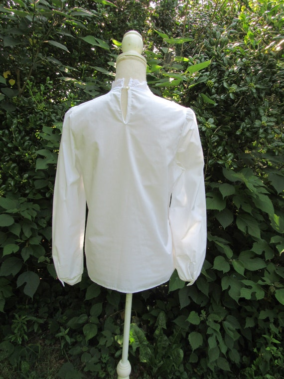 70s 80s Victorian Blouse/ Lace Front Blouse/ High… - image 7