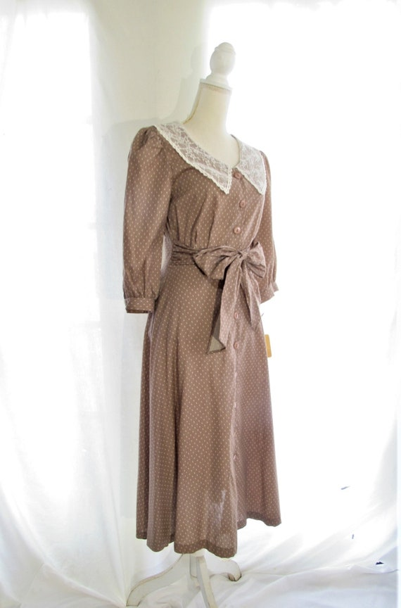70s Prairie Dress/ Size Small Extra Small/ Lace C… - image 5