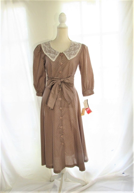 70s Prairie Dress/ Size Small Extra Small/ Lace Co