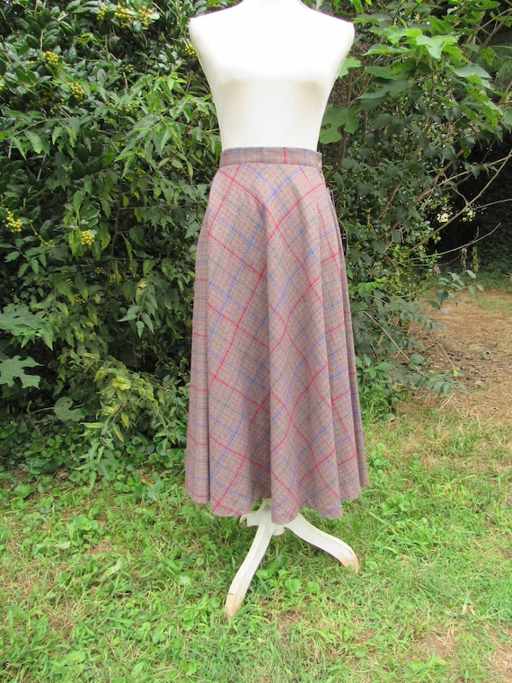 80s Plaid Wool Skirt/ Size Small Ex Small/ Riding