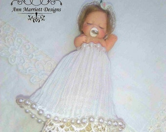 OOAK Polymer Clay Miniature Newborn Baby Christening Art Doll Fantasy Sculpture