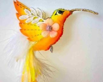 OOAK Textile Fabric Cloth Fairy Hummingbird Bird Soft Sculpture Art Doll Decoration Ornament
