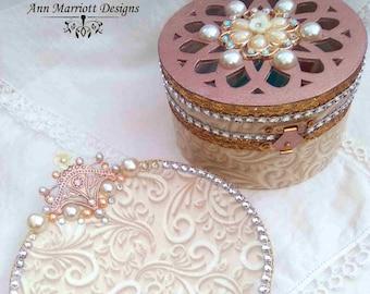 Matching Set Of OOAK Handmade Jewellery Dish & Trinket Box, Trinket Dish Key Holder.