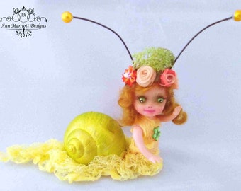 OOAK Miniature Fairy Garden Snail Mermaid Art Doll Fantasy Sculpt Snailien